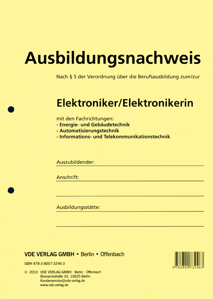 Ausbildungsnachweis Elektronik E Handwerkshop