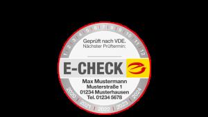 E-CHECK Prüfplakette mit Eindruck